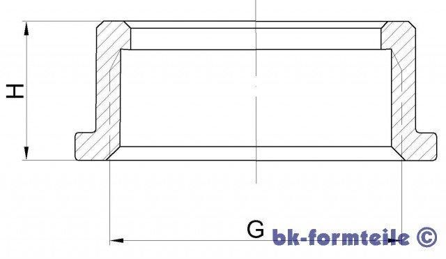 Skizze Überwurfmutter - Überwurfmutter nach DIN 3376 Teil 1 für Zweistutzenanschluss